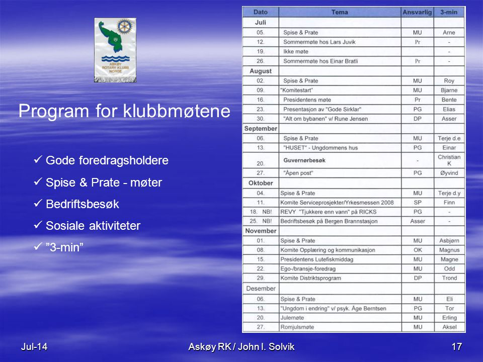 Program for klubbmøtene