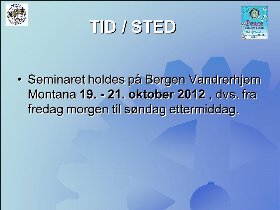 TID / STED Seminaret holdes på Bergen Vandrerhjem Montana 19.