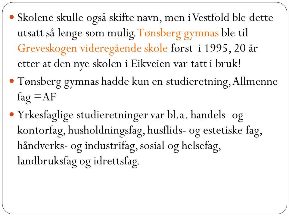 Skolene skulle også skifte navn, men i Vestfold ble dette utsatt så lenge som mulig. Tønsberg gymnas ble til Greveskogen videregående skole først i 1995, 20 år etter at den nye skolen i Eikveien var tatt i bruk!
