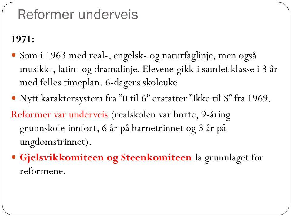 Reformer underveis 1971: