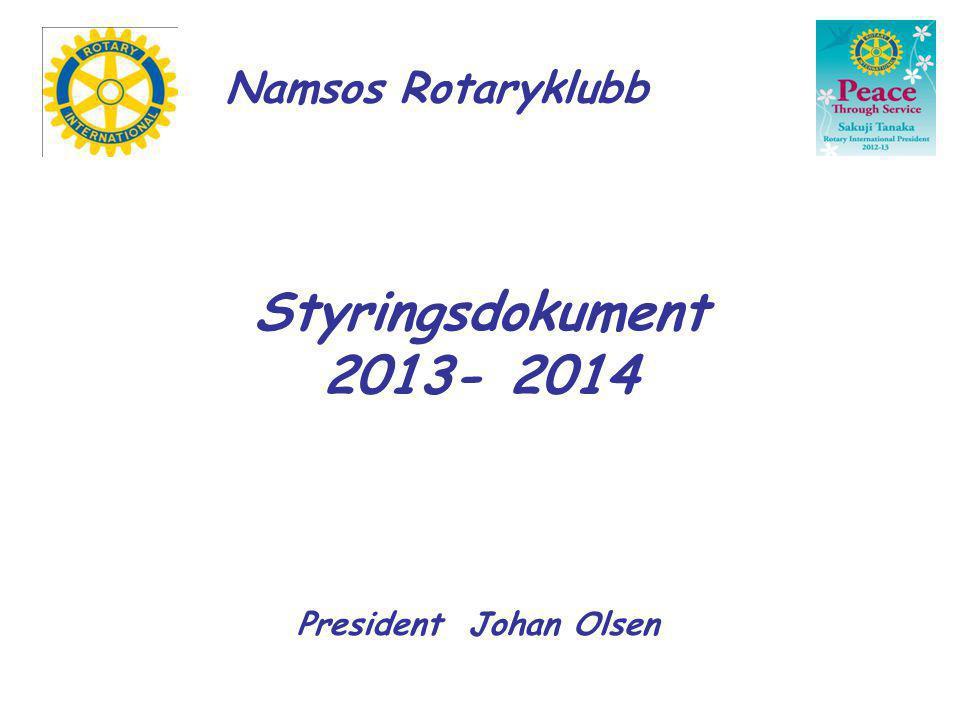 Namsos Rotaryklubb Styringsdokument 2013- 2014 President Johan Olsen