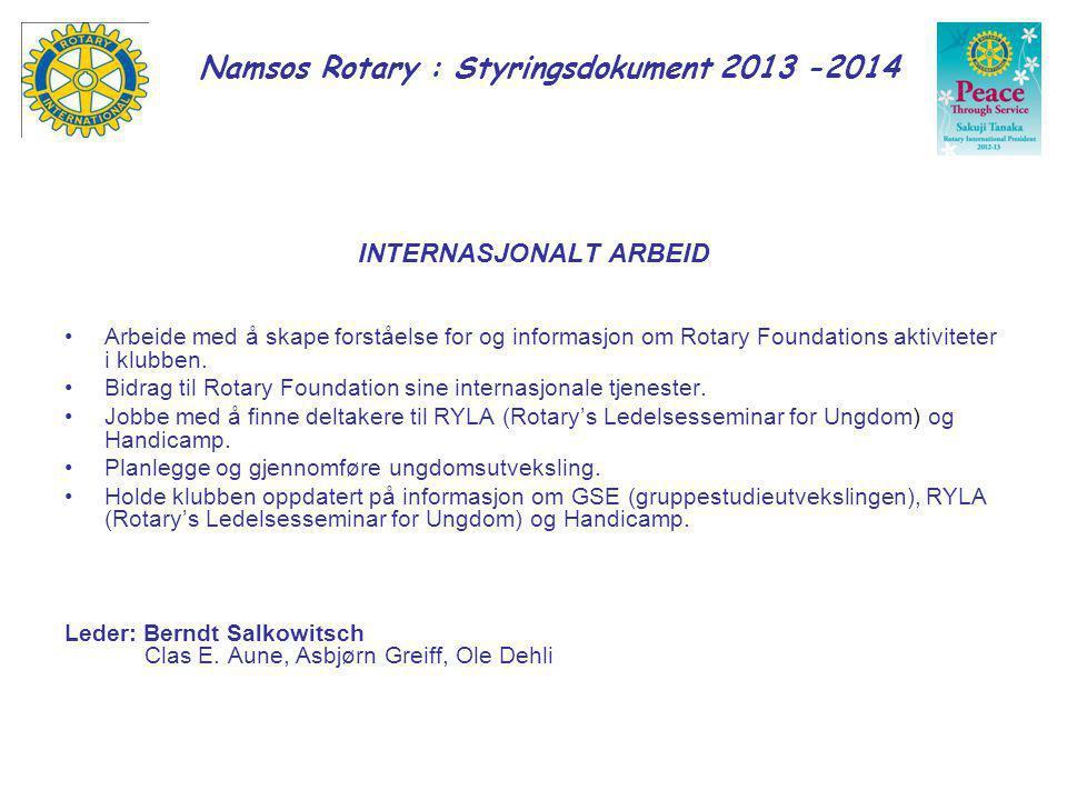 Namsos Rotary : Styringsdokument 2013 -2014