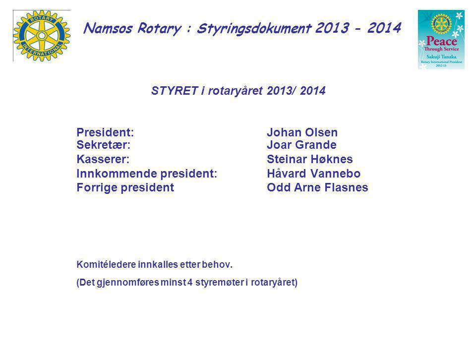 Namsos Rotary : Styringsdokument 2013 - 2014