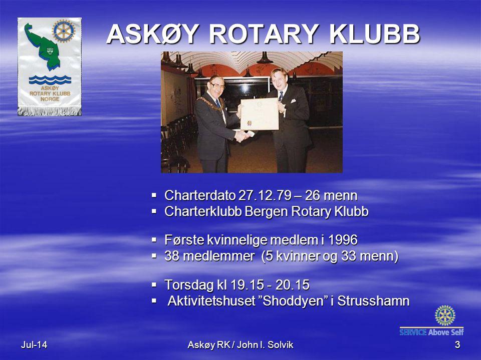 ASKØY ROTARY KLUBB Charterdato 27.12.79 – 26 menn