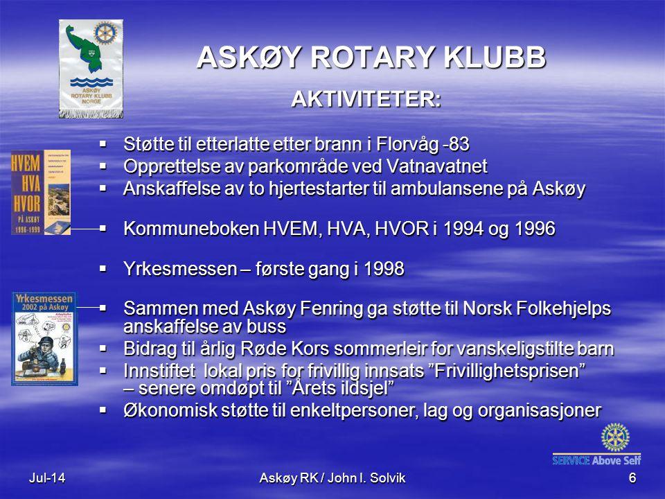 ASKØY ROTARY KLUBB AKTIVITETER: