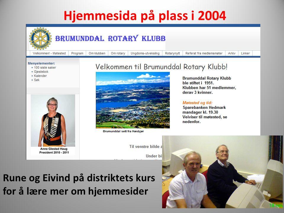 Hjemmesida på plass i 2004 Rune og Eivind på distriktets kurs