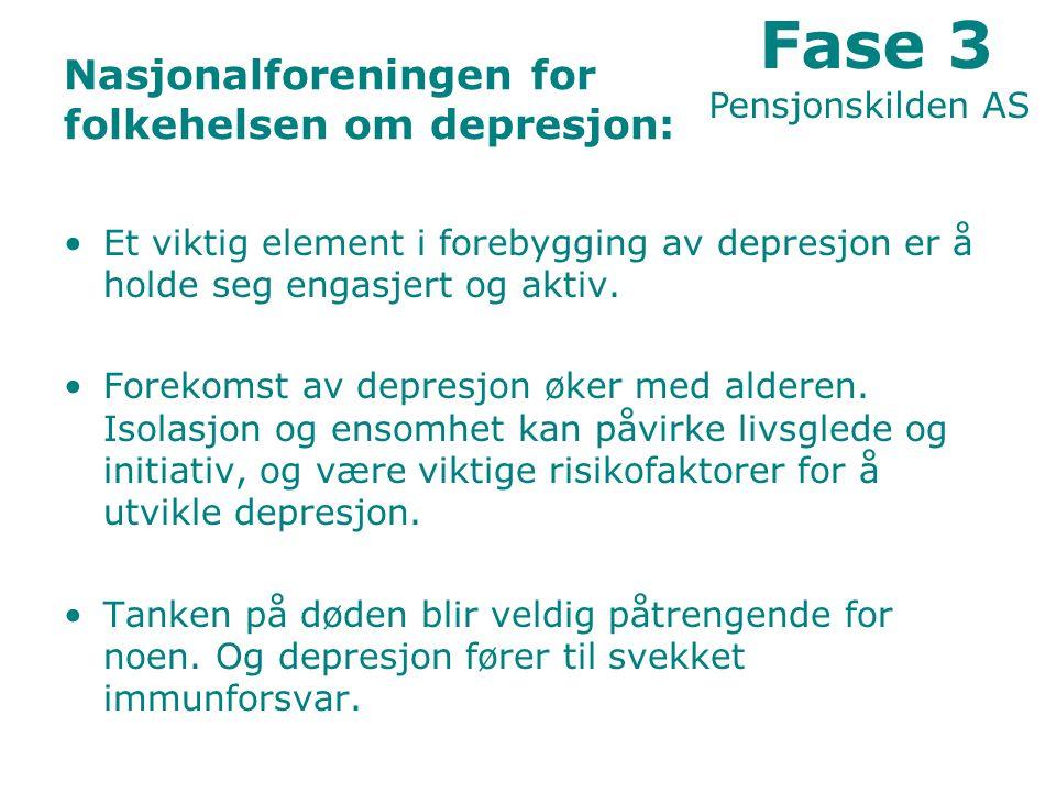 Nasjonalforeningen for folkehelsen om depresjon: