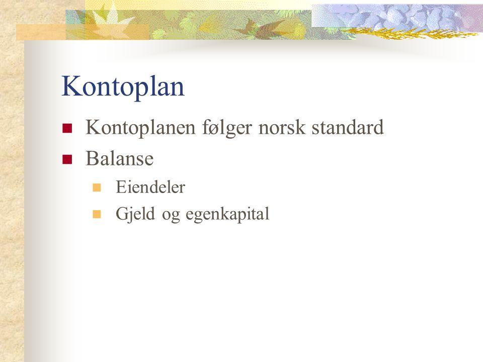 Kontoplan Kontoplanen følger norsk standard Balanse Eiendeler