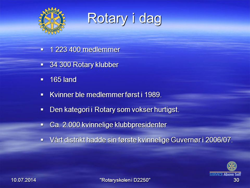Rotary i dag 1 223 400 medlemmer 34 300 Rotary klubber 165 land