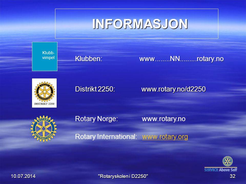 INFORMASJON Klubben: www........NN.........rotary.no