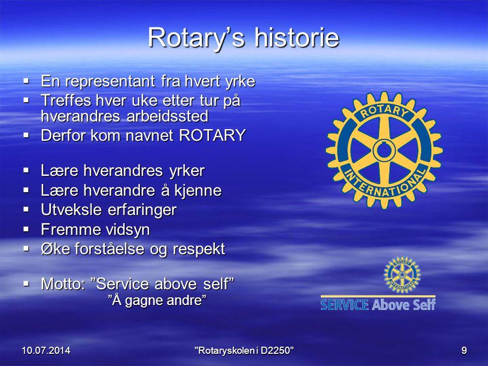 Rotary's historie En representant fra hvert yrke