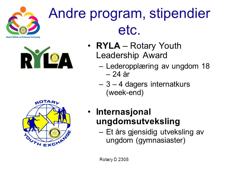 Andre program, stipendier etc.