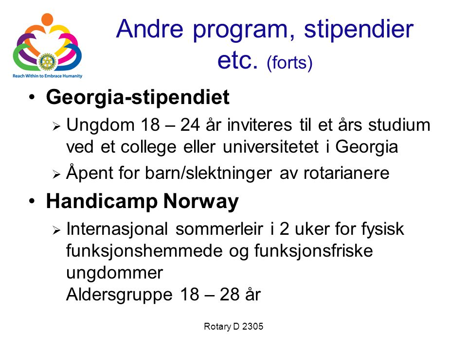 Andre program, stipendier etc. (forts)