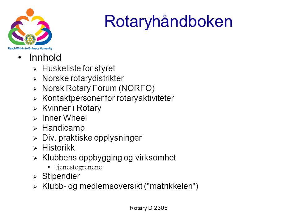 Rotaryhåndboken Innhold Huskeliste for styret Norske rotarydistrikter