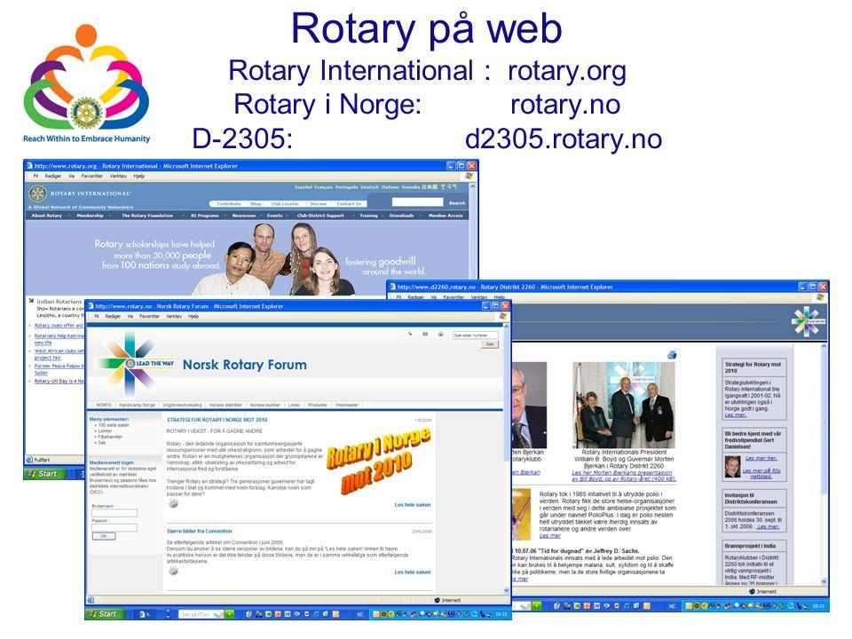 Rotary på web Rotary International : rotary.org Rotary i Norge: rotary.no D-2305: d2305.rotary.no