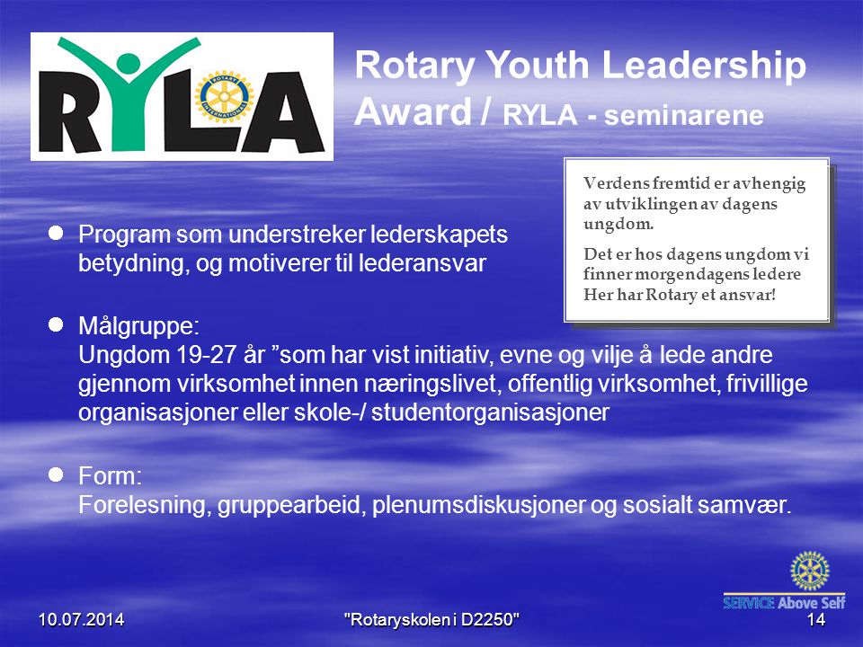 Rotary Youth Leadership Award / RYLA - seminarene