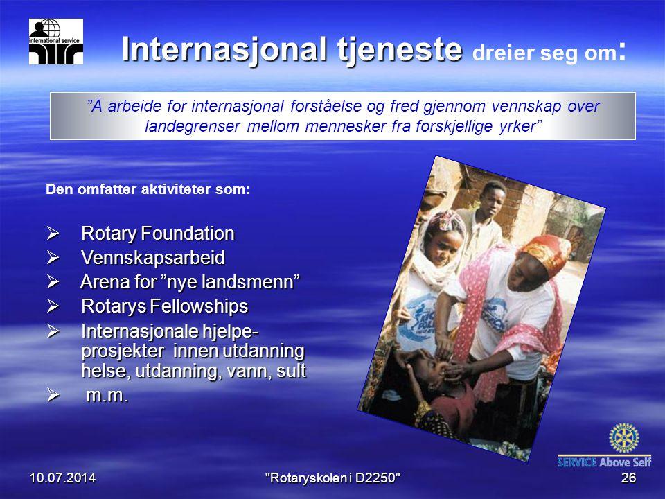 Internasjonal tjeneste dreier seg om: