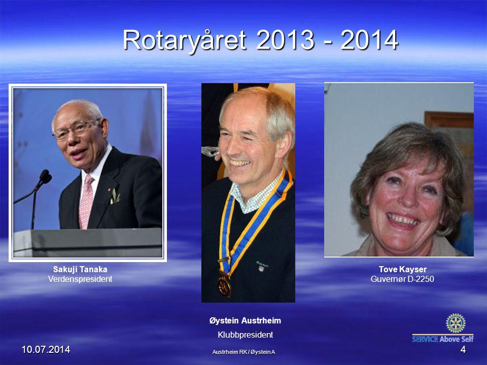 Rotaryåret 2013 - 2014 04.04.2017 Sakuji Tanaka Verdenspresident