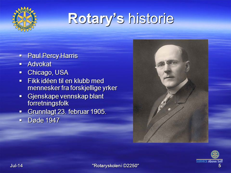 Rotary's historie Paul Percy Harris Advokat Chicago, USA