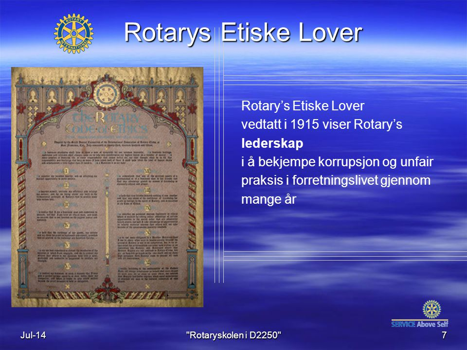 Rotarys Etiske Lover Rotary's Etiske Lover