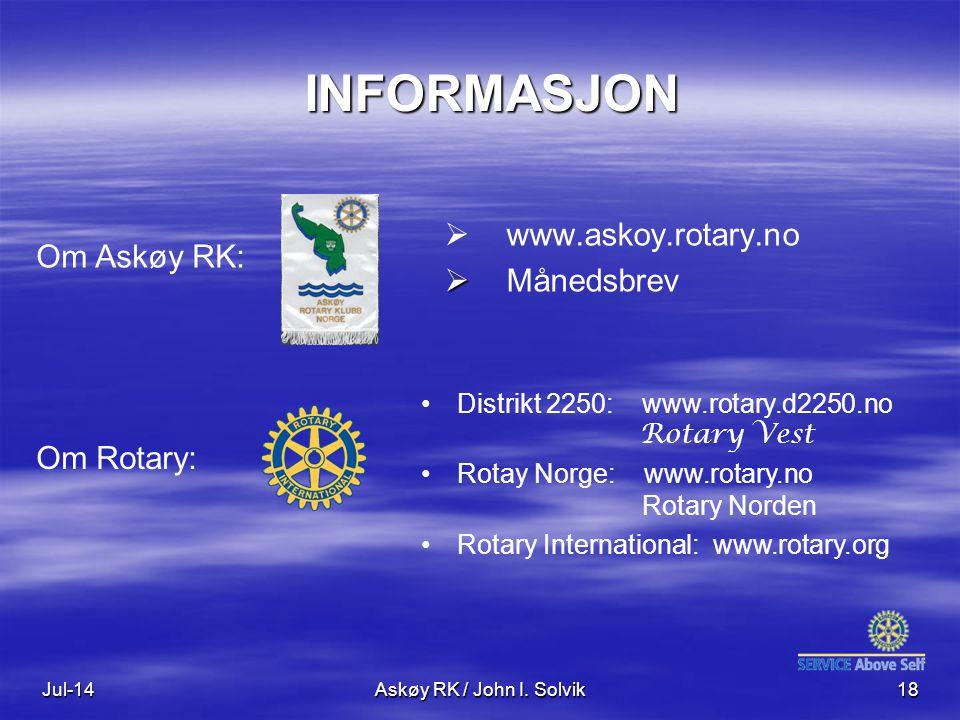 INFORMASJON www.askoy.rotary.no Månedsbrev Om Askøy RK: Om Rotary: