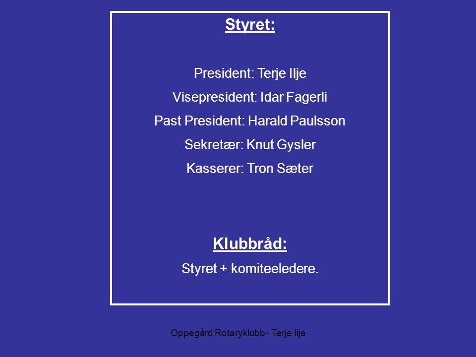 Styret: Klubbråd: President: Terje Ilje Visepresident: Idar Fagerli