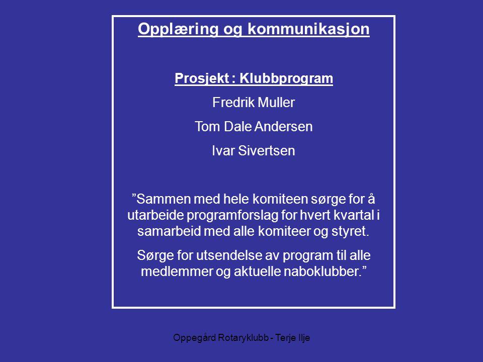 Opplæring og kommunikasjon Prosjekt : Klubbprogram