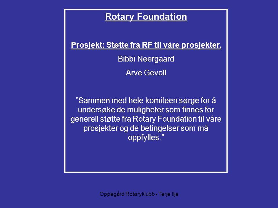 Prosjekt: Støtte fra RF til våre prosjekter.