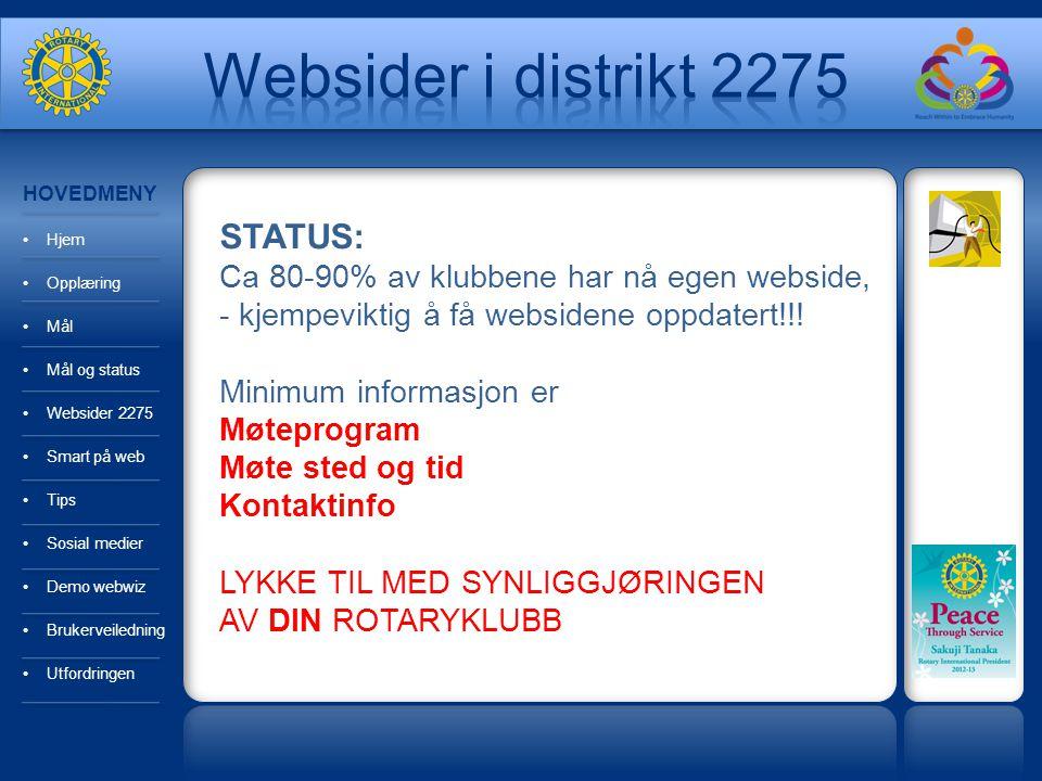 Websider i distrikt 2275 STATUS: