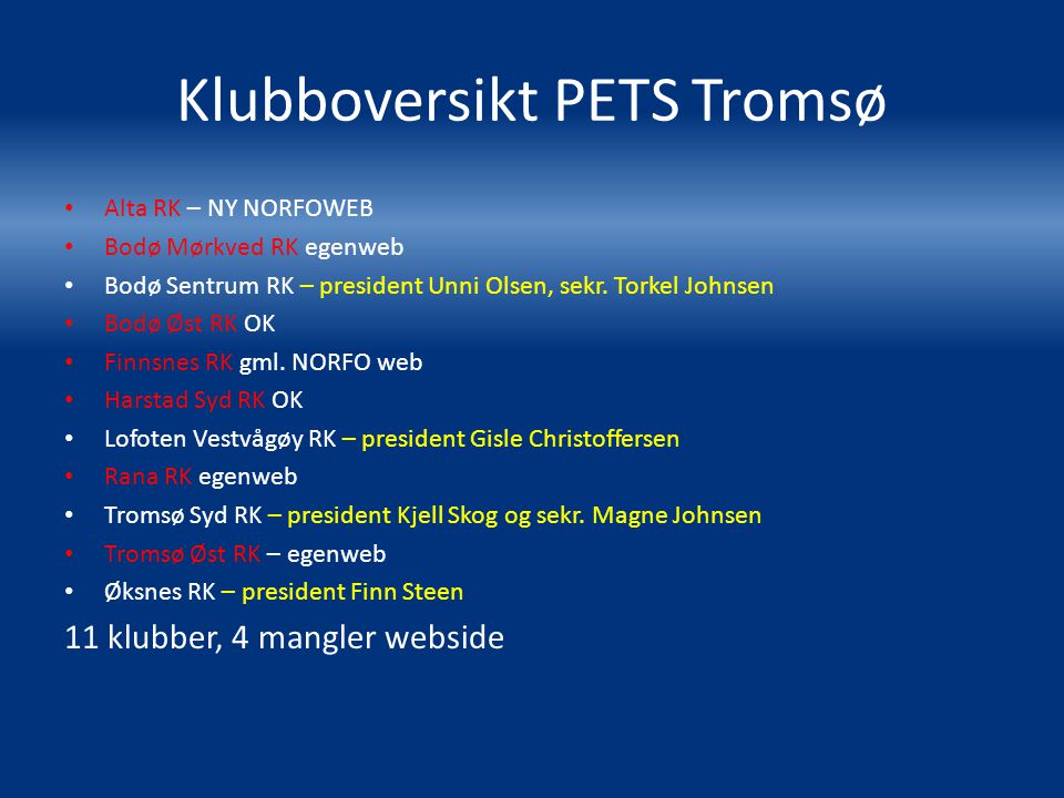 Klubboversikt PETS Tromsø