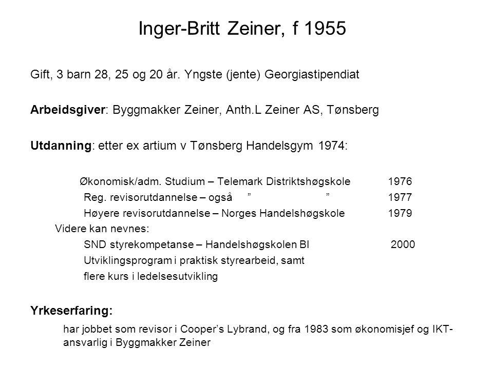 Inger-Britt Zeiner, f 1955 Gift, 3 barn 28, 25 og 20 år. Yngste (jente) Georgiastipendiat.