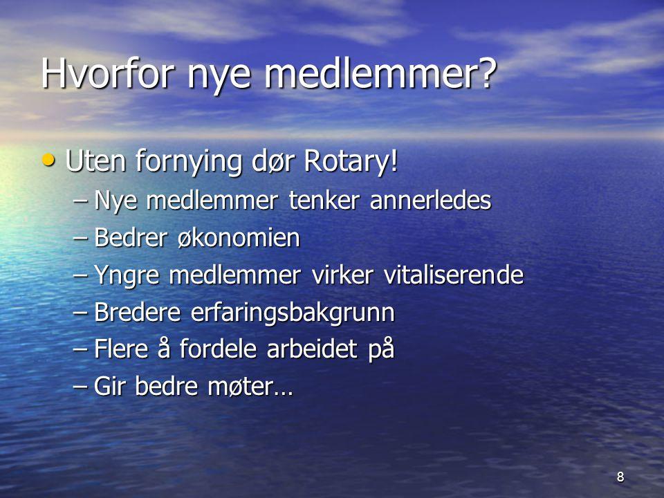 Hvorfor nye medlemmer Uten fornying dør Rotary!