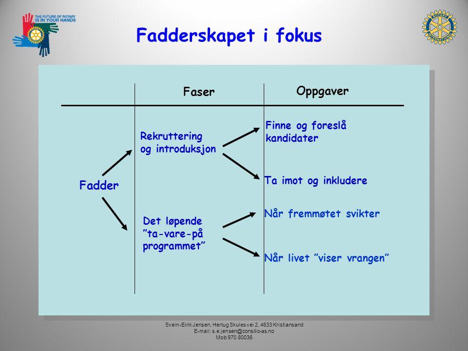 Fadderskapet i fokus Faser Oppgaver Finne og foreslå kandidater