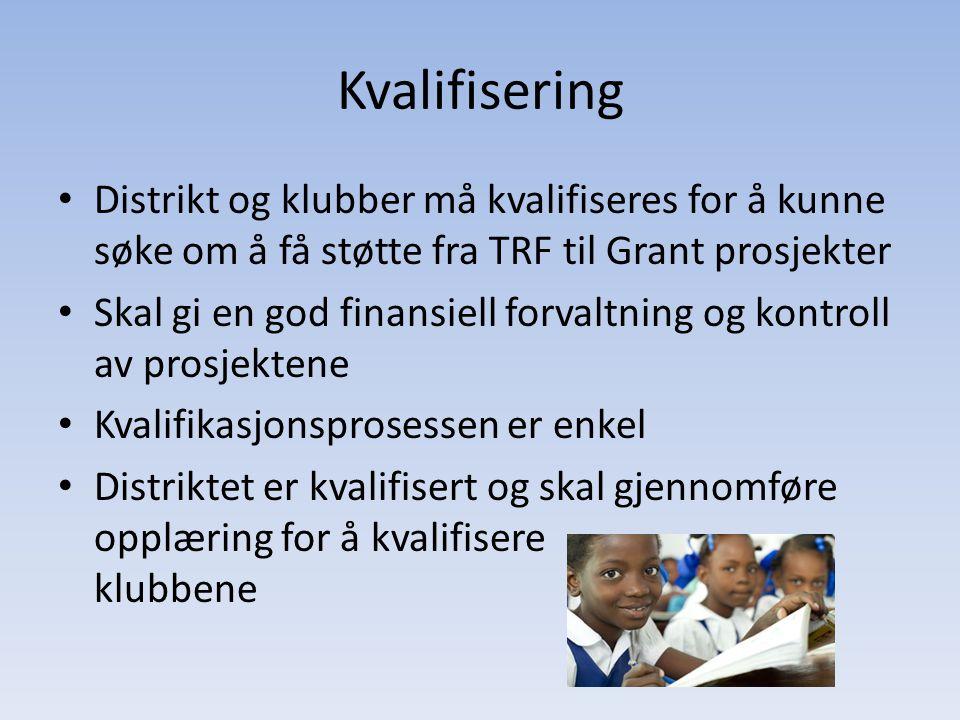 Kvalifisering Distrikt og klubber må kvalifiseres for å kunne søke om å få støtte fra TRF til Grant prosjekter.