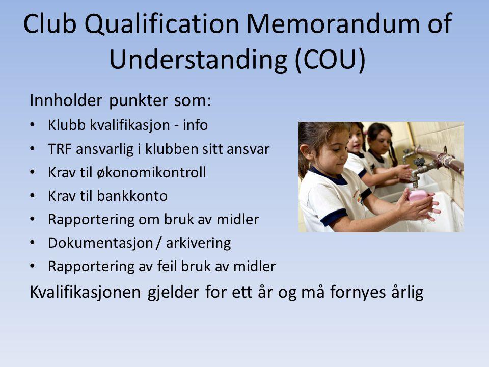 Club Qualification Memorandum of Understanding (COU)
