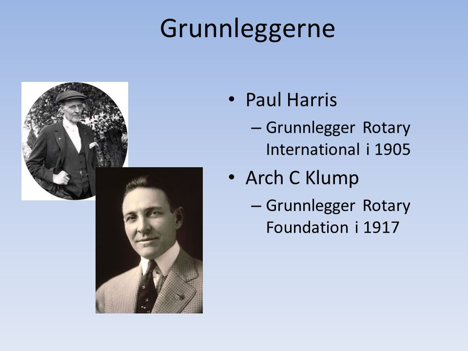 Grunnleggerne Paul Harris Arch C Klump