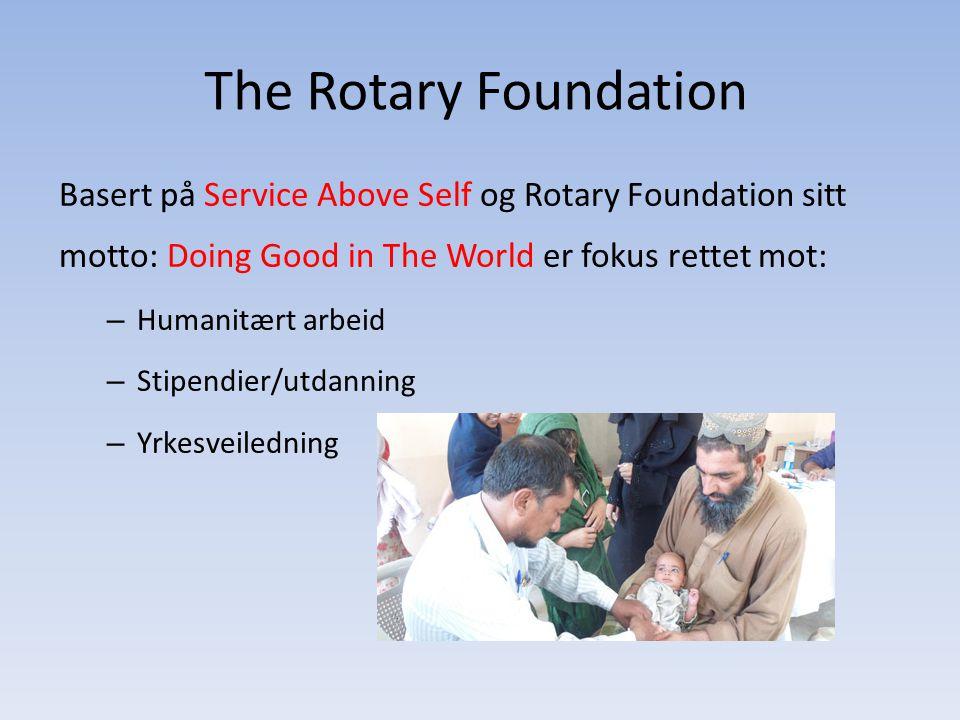 The Rotary Foundation Basert på Service Above Self og Rotary Foundation sitt motto: Doing Good in The World er fokus rettet mot: