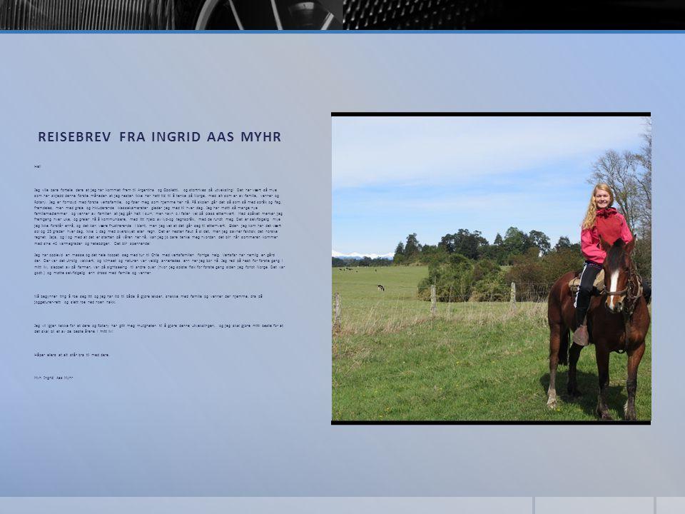 Reisebrev fra Ingrid Aas Myhr