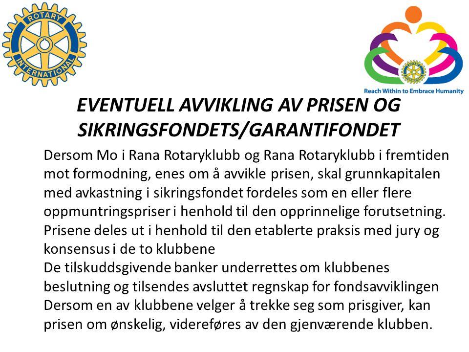 EVENTUELL AVVIKLING AV PRISEN OG SIKRINGSFONDETS/GARANTIFONDET