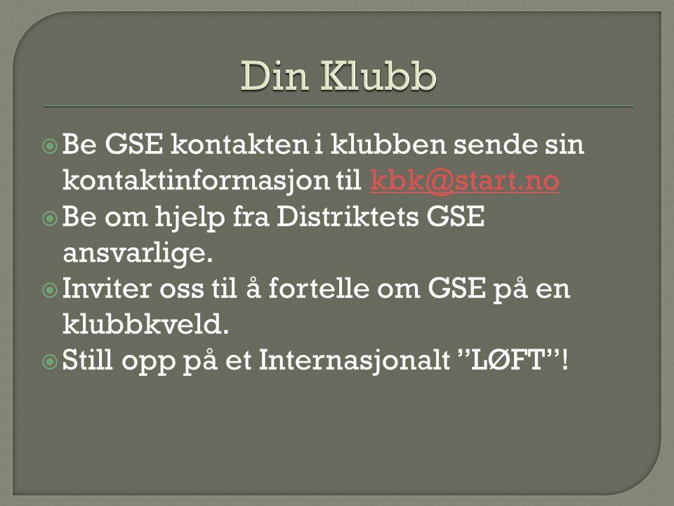 Din Klubb Be GSE kontakten i klubben sende sin kontaktinformasjon til kbk@start.no. Be om hjelp fra Distriktets GSE ansvarlige.