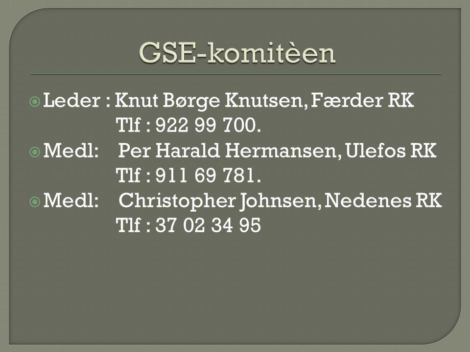 GSE-komitèen Leder : Knut Børge Knutsen, Færder RK Tlf : 922 99 700.