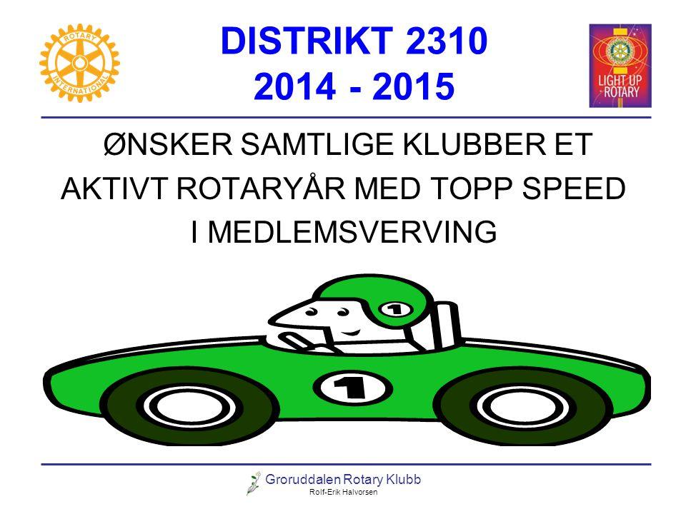 DISTRIKT 2310 2014 - 2015 ØNSKER SAMTLIGE KLUBBER ET