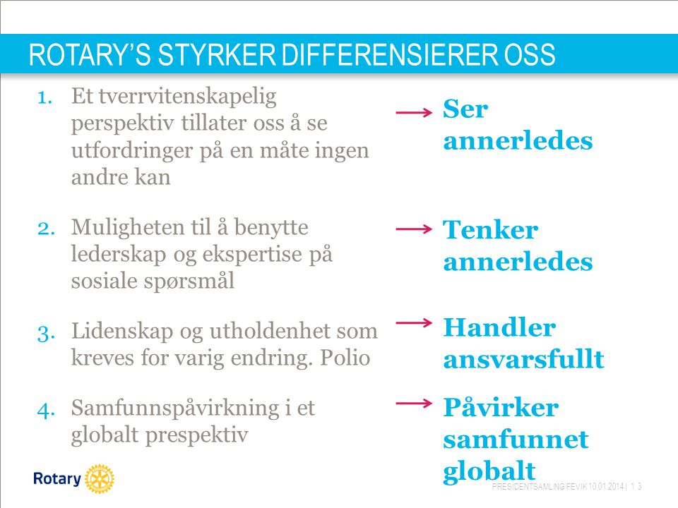 ROTARY'S STYRKER DIFFERENSIERER OSS