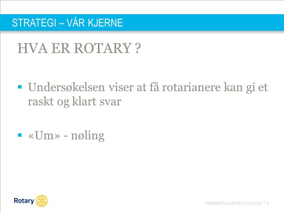 STRATEGI – VÅR KJERNE HVA ER ROTARY Undersøkelsen viser at få rotarianere kan gi et raskt og klart svar.