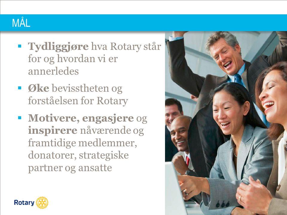 MÅL Tydliggjøre hva Rotary står for og hvordan vi er annerledes