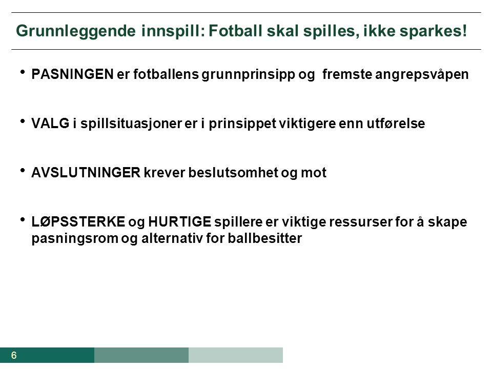 Grunnleggende innspill: Fotball skal spilles, ikke sparkes!