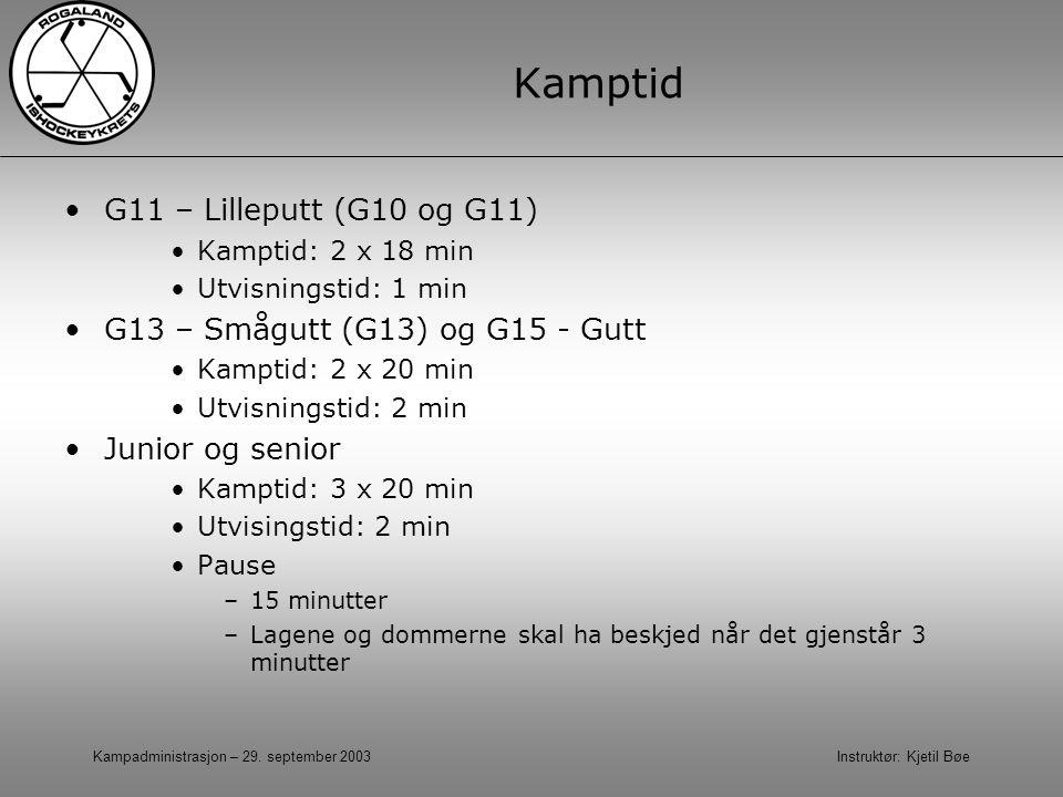 Kamptid G11 – Lilleputt (G10 og G11) G13 – Smågutt (G13) og G15 - Gutt