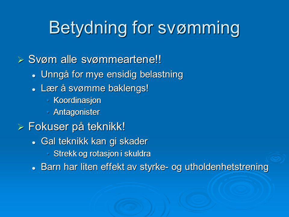 Betydning for svømming