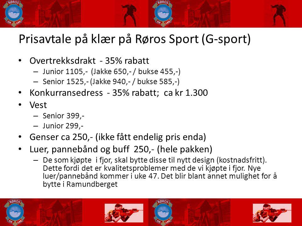 Prisavtale på klær på Røros Sport (G-sport)