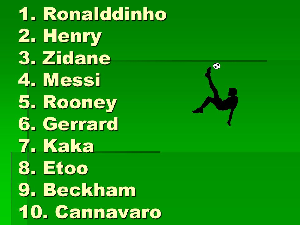 1. Ronalddinho 2. Henry 3. Zidane 4. Messi 5. Rooney 6. Gerrard 7